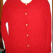 Classic Elements - Red Velour Ribbed Button Front Knit - M Photo