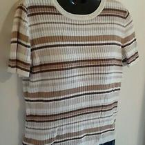 Classic Elements S 6/8 Sweater Top Short Sleeve Ivory Brown Stripe Ladies Modest Photo