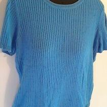 Classic Elements S 6/8 Sweater Top Short Sleeve Knit Blue Solid Ladies Modest Photo