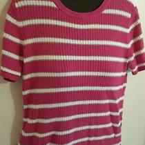 Classic Elements S 6/8 Sweater Top Short Sleeve Pink White Striped Ladies Modest Photo