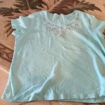 Classic Elements Short Sleeve Aqua Tee Top Cotton Stretch 20-22w Photo