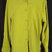 Classic Elements Size L Lime Green Button Up Shirt Suede Polyester Long Sleeve Photo