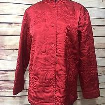 Classic Elements Size Xl 18 Red Button Up Shirt Blazer Long Slv Holiday Wear Photo