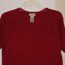 Classic  Elements - Size Xl - Blouse - Red With Small Glitter Dots -Short Sleeve Photo
