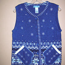Classic Elements Snowflake Sweater Vest L Blue Nordic Print Mitten Pockets Photo
