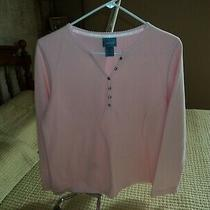 Classic Elements Sweater Medium Pink v-Neck Solid Cotton Polyester Ribbed Top Photo