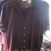 Classic Elements Sz L 2 Pc Beaded Linen Elastic Waist Crop Pants/shirt Brown  Photo