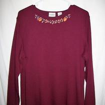 Classic Elements Sz L Fall Burgundy / Wine Ls Knit Top Tee / Cotton Blend Photo