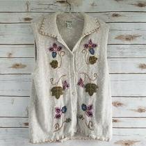 Classic Elements Sz M Sweater Vest Oatmeal Floral Embroidery Sleeveless Cardigan Photo