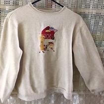 Classic Elements Tan Fall Sweatshirt W/embroidery - Sz10-12 Flag Cornstalks Barn Photo