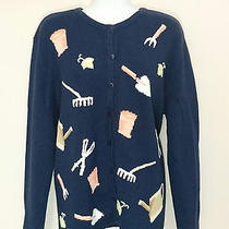 Classic Elements Vintage Blue Cardigan Sweater Garden Tools & Leaves Xl 3243 Photo