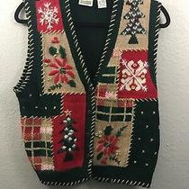 Classic Elements Vintage Ugly Christmas Sweater Vest Womens Small Green Red Gold Photo