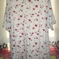 Classic Elements White Short Sleeve Top With Red and Tan Flowers 3x Photo