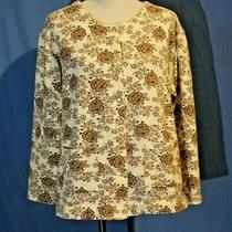 Classic Elements Woman 16w/18w Brown Floral Snap Sweatshirt  Soft and Cozy Photo