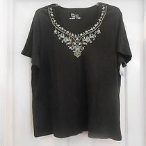 Classic Elements Woman Black Embroidered Sequin Tee Top Shirt - 20-22w - Nwt Photo