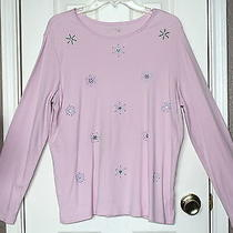 Classic Elements Woman's Long Sleeve Snow Flake Embellished Knit Top Size L Photo