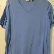 Classic Elements Woman's Purple Short Sleeve Pointelle v Neck Shirt Size L 14-16 Photo