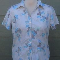 Classic Elements Woman Shirt Sz L Beige Blue Brown Floral Butterfly Blouse Top Photo