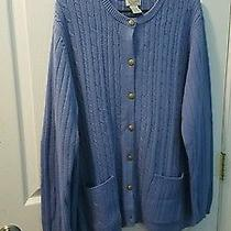 Classic Elements Woman Size 20-22w Blue Button Down Cardigan Sweater Photo