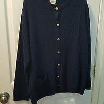 Classic Elements Woman Size 20-22w Navy Blue Button Down Cardigan Sweater Photo
