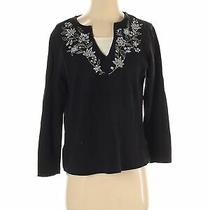 Classic Elements Women Black Long Sleeve Top M Petites Photo