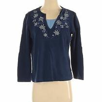 Classic Elements Women Blue Long Sleeve Top M Petites Photo