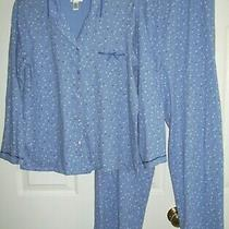 Classic Elements Women Pajamas M Button Up Long Sleeve 100% Cotton Blue Dots Photo