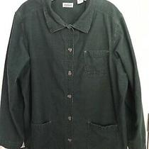 Classic Elements Women's Corduroy Shirt Xl Dark Green Long Sleeve Photo