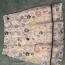 Classic Elements Women's Lined Skirt Size 12 Tan Floral Photo