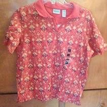 Classic Elements Women's Shirt Orange Print Size Large 14 16 Photo