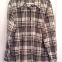 Classic Elements Women's Sz M Green White Plaid Button Down Flannel Shirt Jacket Photo