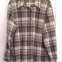Classic Elements Women's Sz M Green White Plaid Button Down Flannel Shirt Jacket Photo
