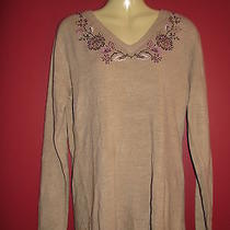 Classic Elements Women's Tan Acrylic Embroidered Sweater - Size Medium - Nwt44 Photo