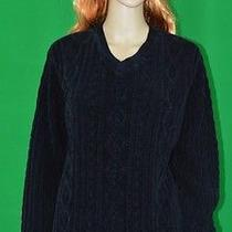 Classic Elements Womens Black v Neck Long Sleeve Cable Knit Sweater Size Medium Photo