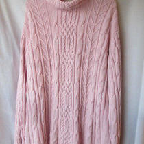 Classic Elements Womens Chunky Cable Knit Pink Extra Long Sz Xl Acrylic Sweater Photo
