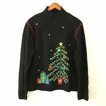 Classic Elements Womens L Christmas Tree Jingle Bells Embroidered Black Sweater  Photo