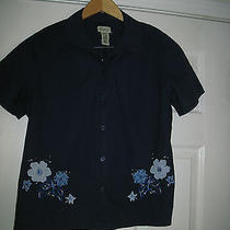 Classic Elements Womens Navy Blue S/sleeve Embroidered Embellished Blouse Top  L Photo