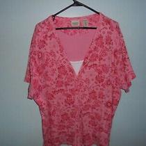 Classic Elements Womens Pink Floral 24/26w Blouse Blouse Casual Dress Blouse Photo