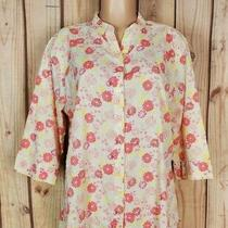 Classic Elements Womens Size Large 3/4 Sleeve Shirt Floral Print Textured Top  Photo