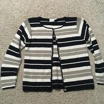 Classic Elements Womens Size M Medium Black Tan Cream Stripe Cardigan Sweater Photo