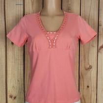 Classic Elements Womens Size Small Petite Short Sleeve Shirt Cotton Salmon Top Photo