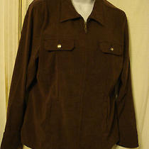 Classic Elements Womens Xlbrown Faux Suede Feel Zip-Up Front Dress Shirt Jacket Photo