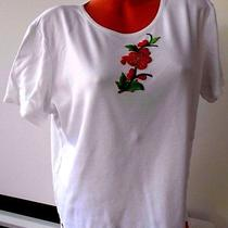 Classic Elements( Xl) Knit Top White W/red Floral Stretch Fabric Casual Cruise Photo