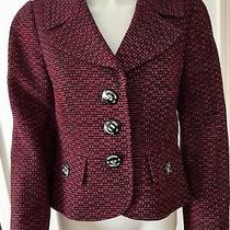 Classic Ellen Tracy Black Pink & Purple Tweed Cropped Blazer Jacket Sz  4 Photo