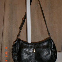 Classic Etienne Aigner Hobo Shoulder Hand Bag Purse Glossy Smooth Black Leather Photo