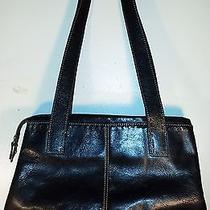 Classic Fossil Black Leather Purse Large Handbag  Photo