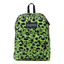 Classic Jansport Superbreak Backpack  Green Double Vision School College Photo