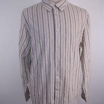 Classic John Varvatos Men's Gray White Stripe Ls Shirt Xxl Photo