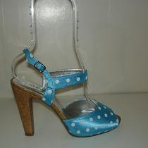 Classique Blue Turquoise Aqua Polka Dot Cork Strappy Sandals Platform Heels 8 W Photo