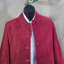 Classy Valerie Stevens Petites 100% Leather Red Suede Women Sports Coat Shirt M Photo